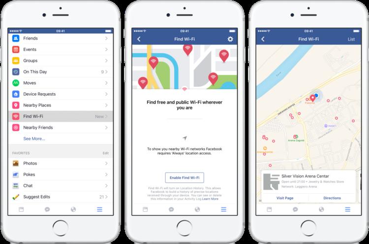 """Facebook con la nuova funzione """"Trova Wi-Fi"""""""
